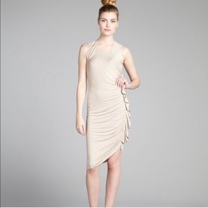 BCBG Hada Side Ruffle Dress in Pumice